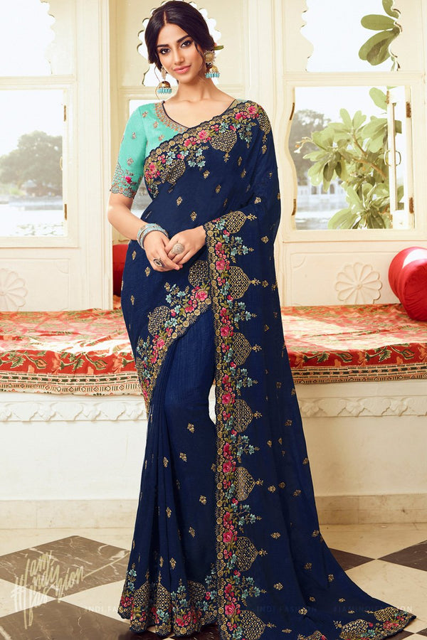 Navy Blue and Turquoise Vichitra Silk Embroidered Saree