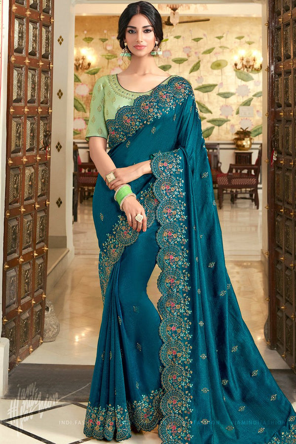 Teal Blue and Pista Vichitra Silk Embroidered Saree