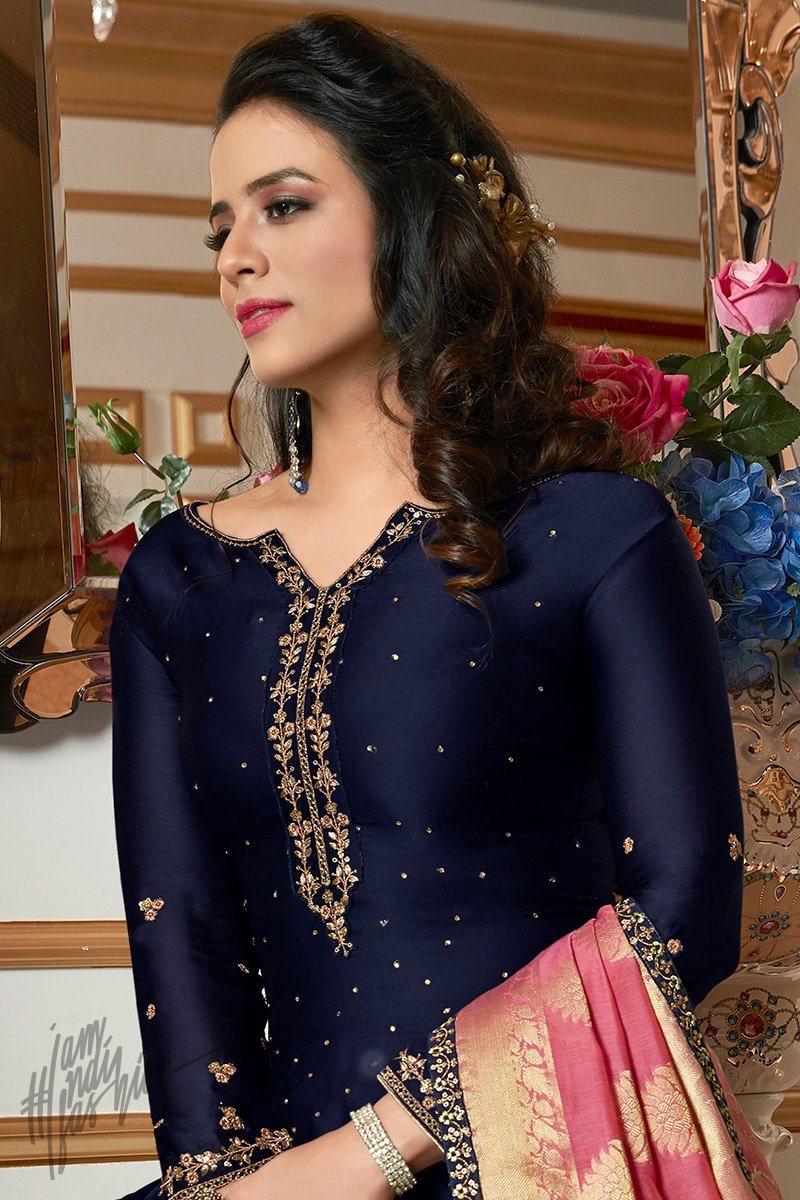 Midnight Blue and Onion Pink Satin Georgette Sharara Suit