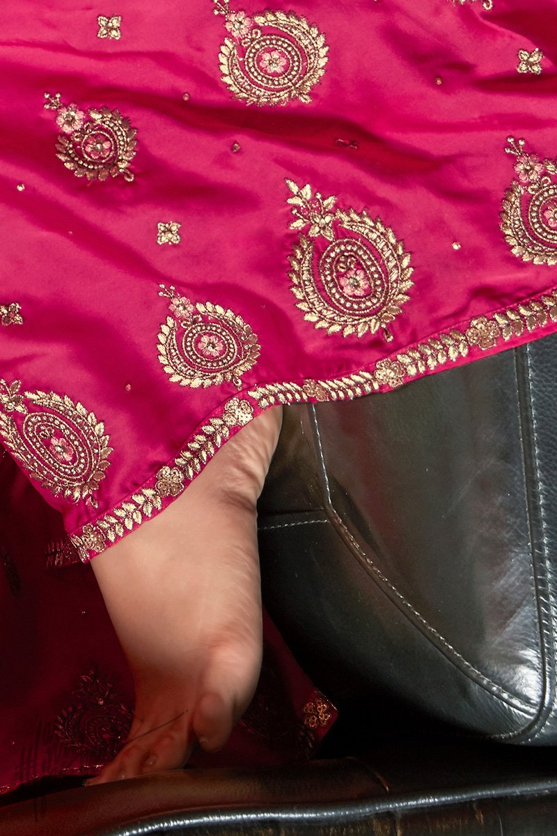 Hot Pink Satin Georgette Sharara Suit