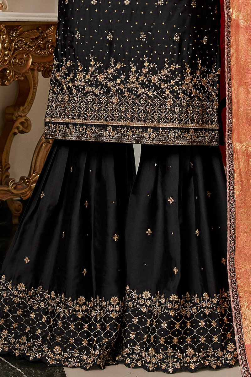 Black and Peach Satin Georgette Sharara Suit