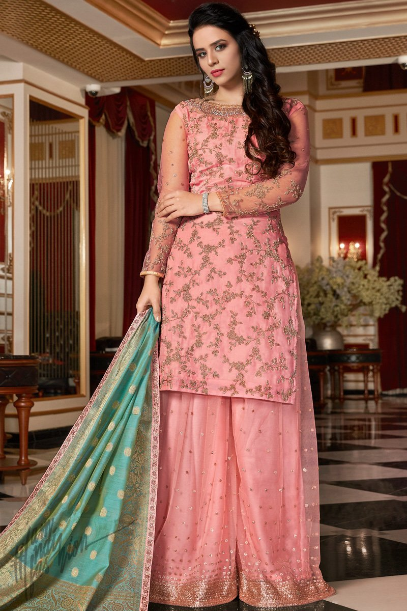 Baby Pink and Teal Satin Georgette Sharara Suit