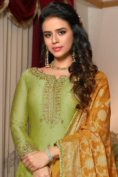Green and Honey Orange Satin Georgette Sharara Suit