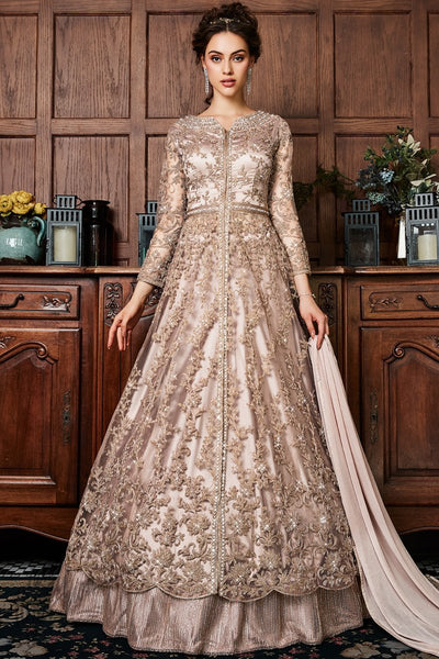 Antique Golden Brown Net Lehenga Style Suit with Pants