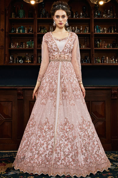 Pastel Pink Net Lehenga Style Suit with Crop Top and Jacket