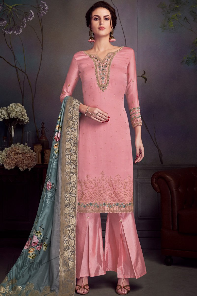 Pink Satin Georgette Swarovski Straight Suit