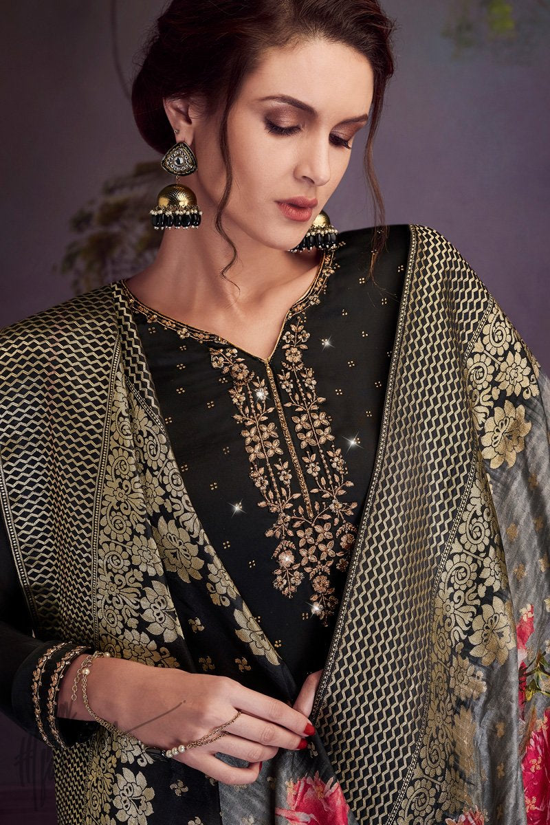 Black Satin Georgette Swarovski Straight Suit