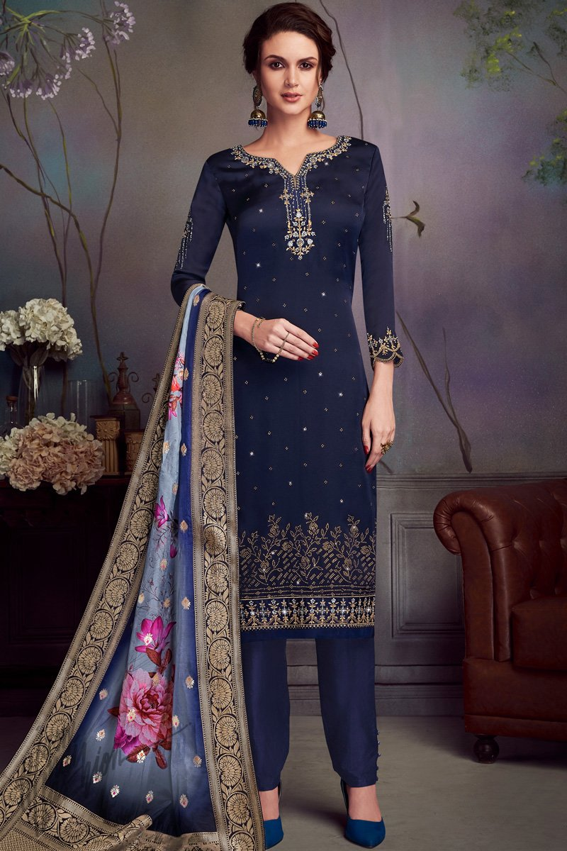 Blue Satin Georgette Swarovski Straight Suit