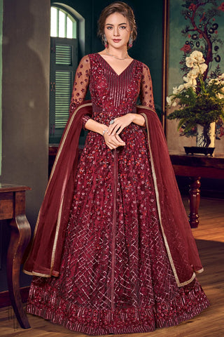 Maroon Net Lehenga Style Anarkali Suit with Pants