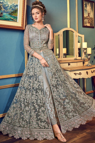 Gray Net Lehenga Style Anarkali Suit with Pants