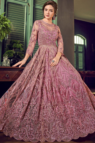 Mauve Net Anarkali Suit