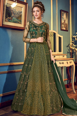 Bottle Green Net Lehenga Style Anarkali Suit with Crop Top
