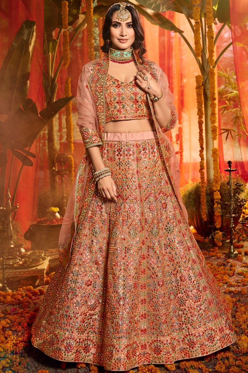 Peach Pure Organza Silk Embroidered Wedding Lehenga Set