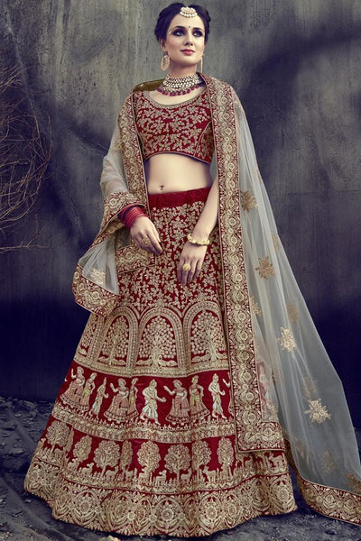Indi Fashion Red Velvet and Net Lehenga Set