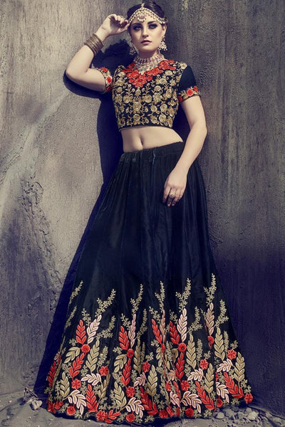 Indi Fashion Navy Blue Velvet and Net Lehenga Set
