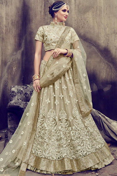 Indi Fashion Beige Georgette and Silk Lehenga Set
