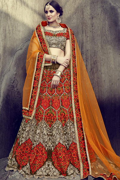 Indi Fashion Orange and Brown Velvet and Net Lehenga Set