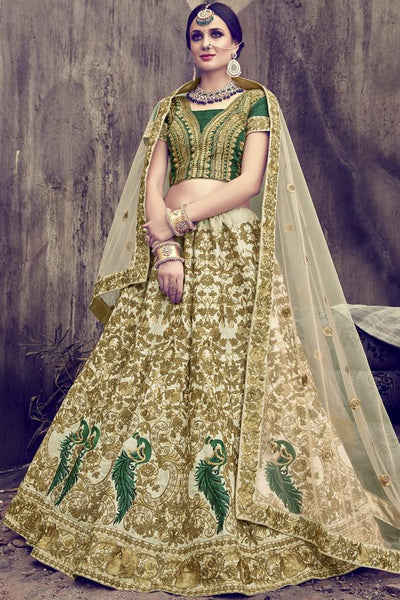 Indi Fashion Off White and Green Silk and Net Lehenga Set