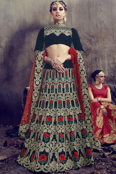 Indi Fashion Bottle Green velvet and Net Lehenga Set