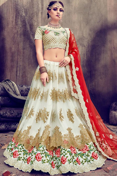 Indi Fashion White and Red Net and Silk Lehenga Set