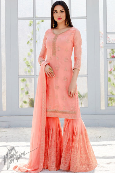 Pink Georgette Party Wear Sharara Suit