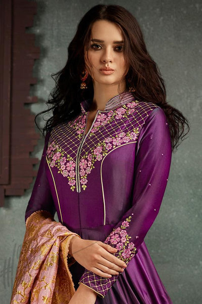 Indi Fashion Purple and Peach Dual Tone Silk Party Wear Suit