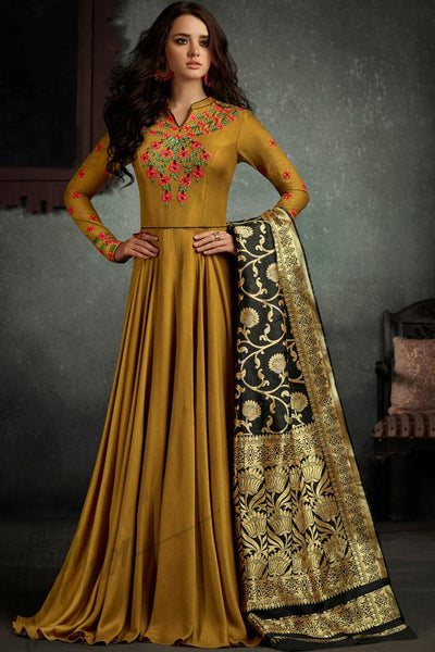 Indi Fashion Mustard and Black Rayon Party Wear Suit
