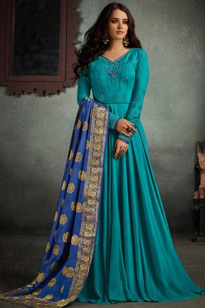 Indi Fashion Sky Blue and Royal Blue Rayon Party Wear Suit
