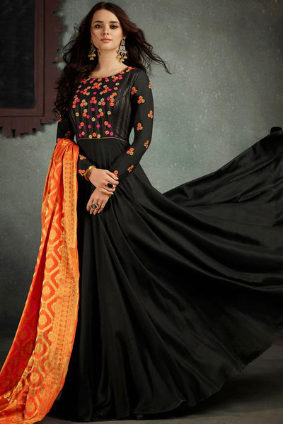 Indi Fashion Black and Orange Rayon Party Wear Suit