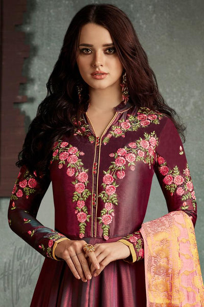 Indi Fashion Wine and Peach Dual Tone Silk Party Wear Suit