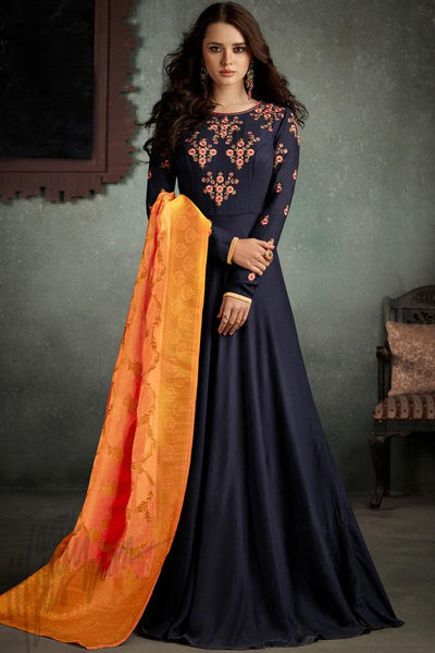 Indi Fashion Navy Blue and Orange Rayon Party Wear Suit