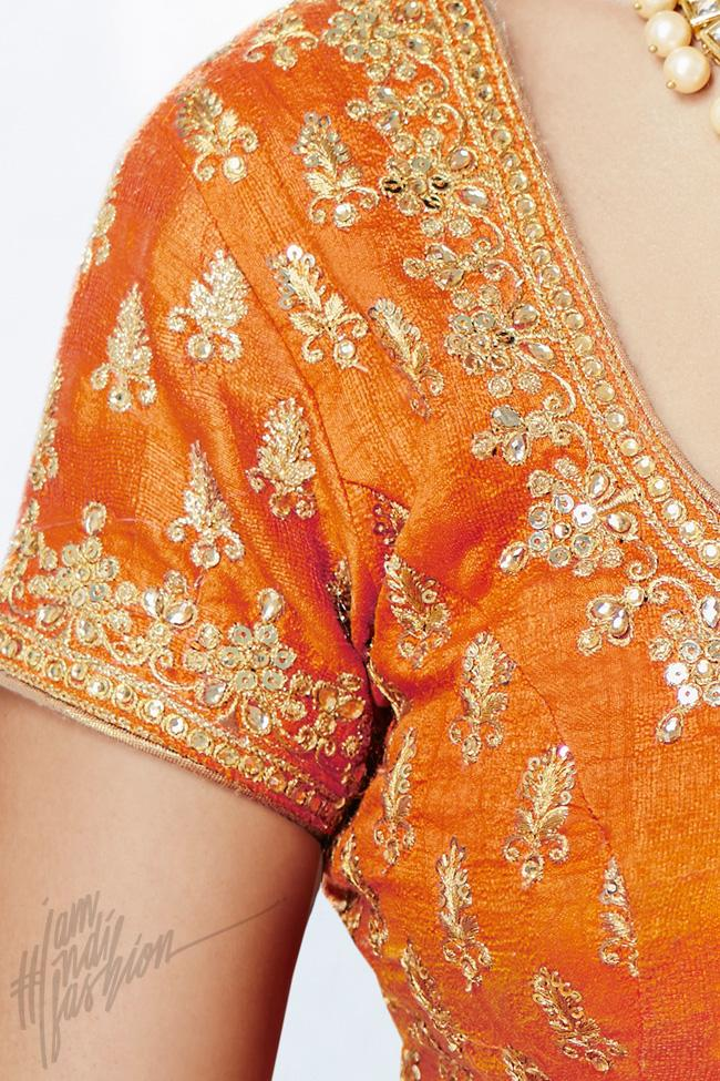 Indi Fashion Orange Bhagalpuri Silk Wedding and Festive Lehenga Set