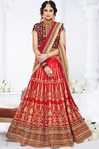 Indi Fashion Red and Maroon Dupion Silk Wedding and Festive Lehenga Set