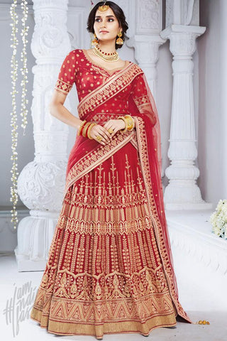 Indi Fashion Red Bhagalpuri Silk Wedding and Festive Lehenga Set