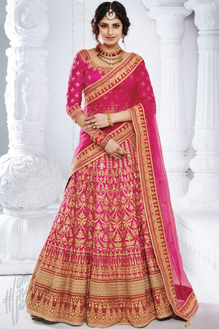 Indi Fashion Magenta Bhagalpuri Silk Wedding and Festive Lehenga Set