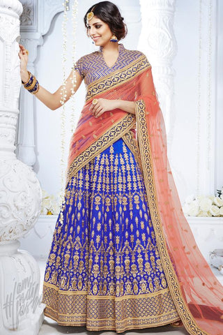 Indi Fashion Royal Blue and Peach Bhagalpuri Silk Wedding and Festive Lehenga Set