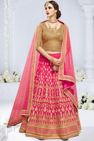 Indi Fashion Pink and Beige Paris Silk Wedding and Festive Lehenga Set
