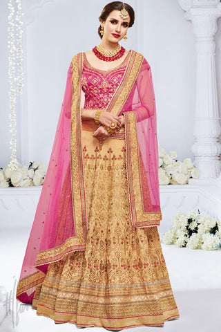 Indi Fashion Chiku and Pink Bhagalpuri Silk Wedding and Festive Lehenga Set