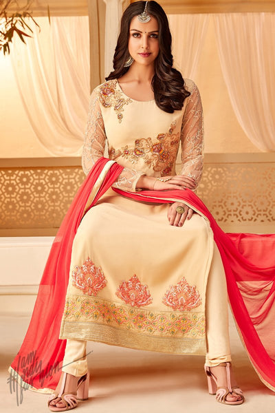 Cream and Pink Georgette Party Wear Straight Suit