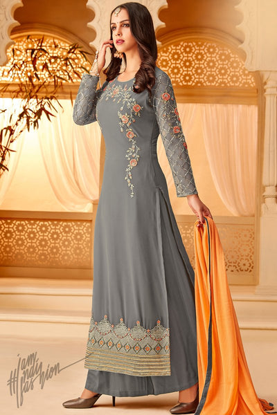 Gray and Mango Georgette Party Wear Palazzo Suit