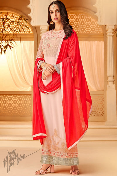 Baby Pink and Red Georgette Party Wear Straight Suit