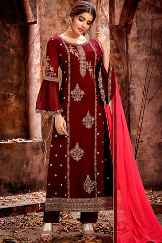 Maroon Georgette Straight Suit