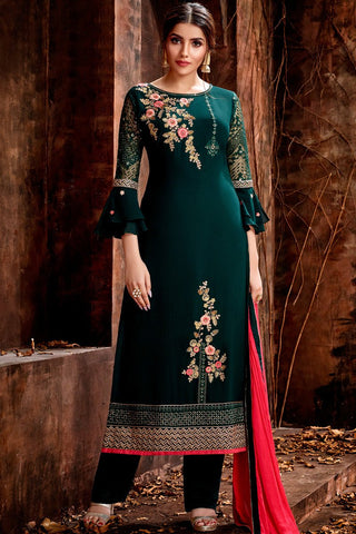 Bottle Green Georgette Straight Suit