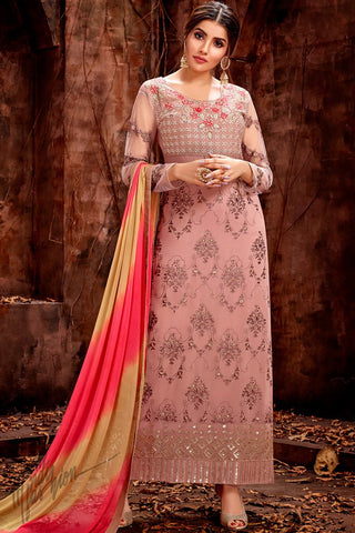 Salmon Pink Georgette Straight Suit