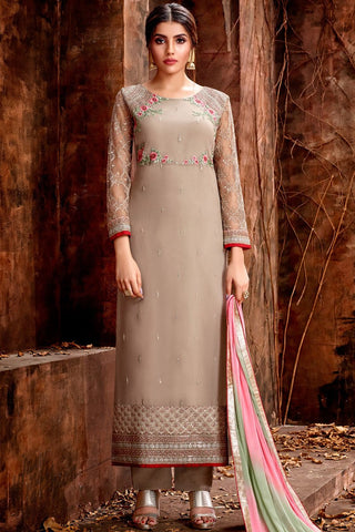 Mouse Brown Georgette Straight Suit