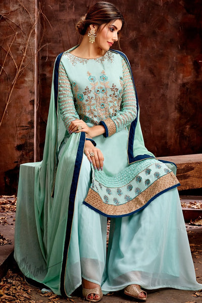 Sky Green Georgette Palazzo Suit