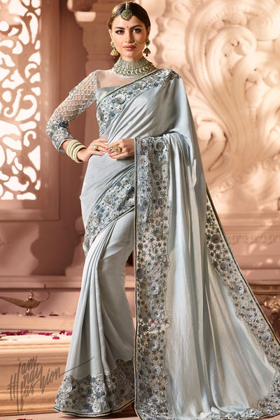 Pearl Silver Silk and Net Wedding Saree