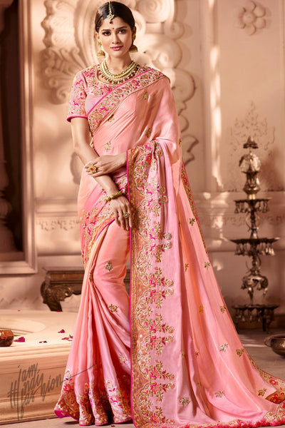 Pink Melbourne Silk Wedding Saree