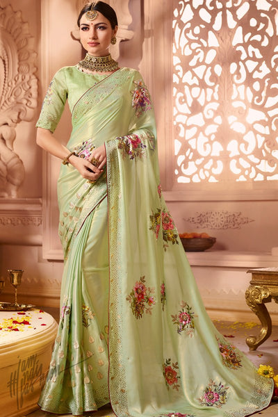 Light Parrot Green Satin Georgette Wedding Saree
