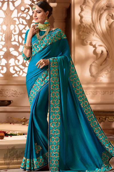 Light Royal Blue Silk Wedding Saree